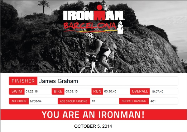 36 mins off AG win at Ironman Barcelona 2014