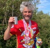 Jim Graham's 100th Marathon with Walking Poles